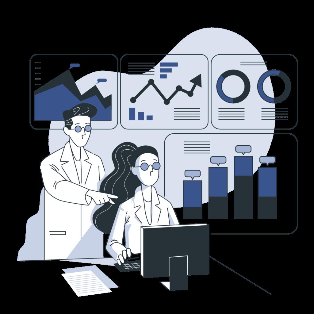 Analysts analyzing the data