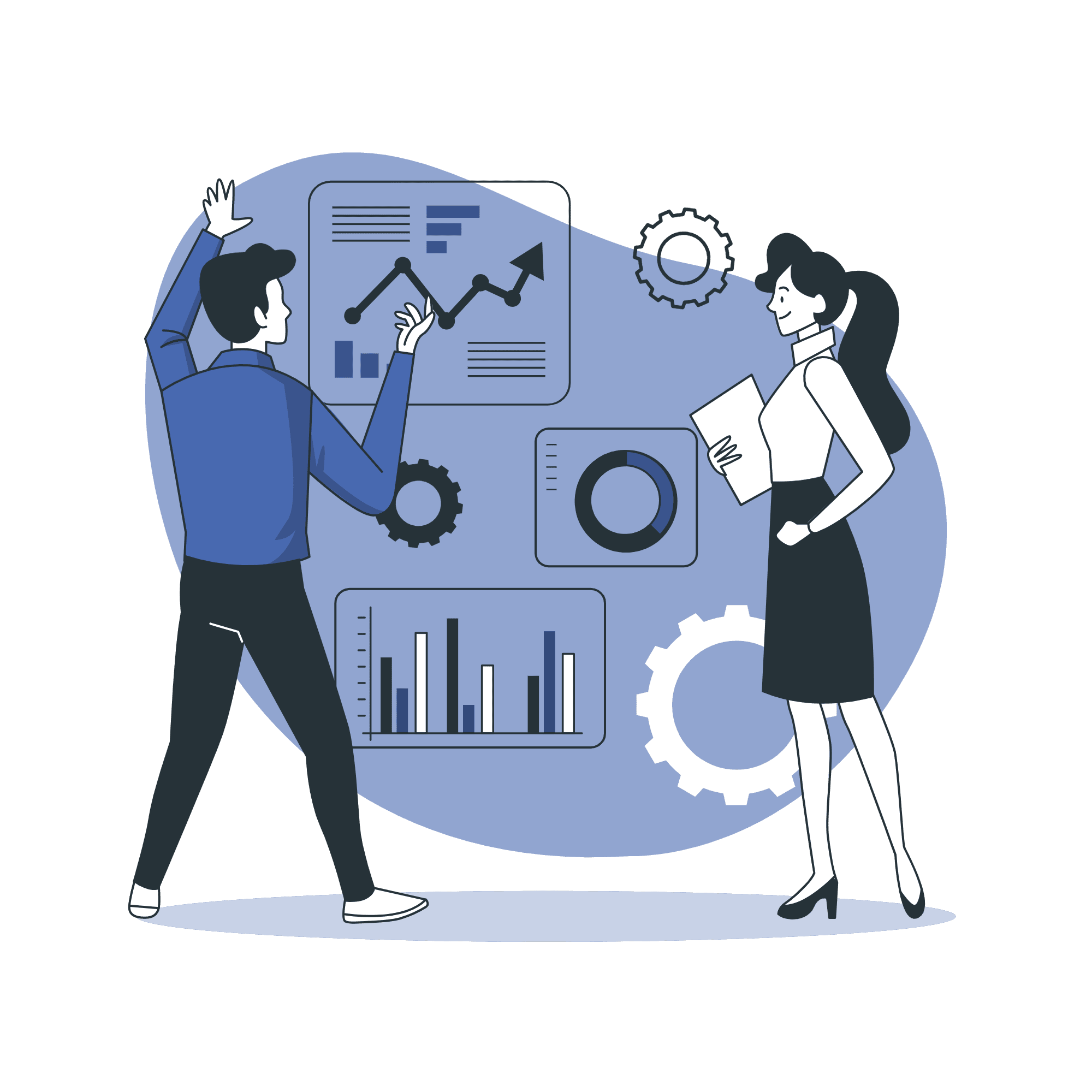 Colleagues analyzing digital marketing performance vector illustration