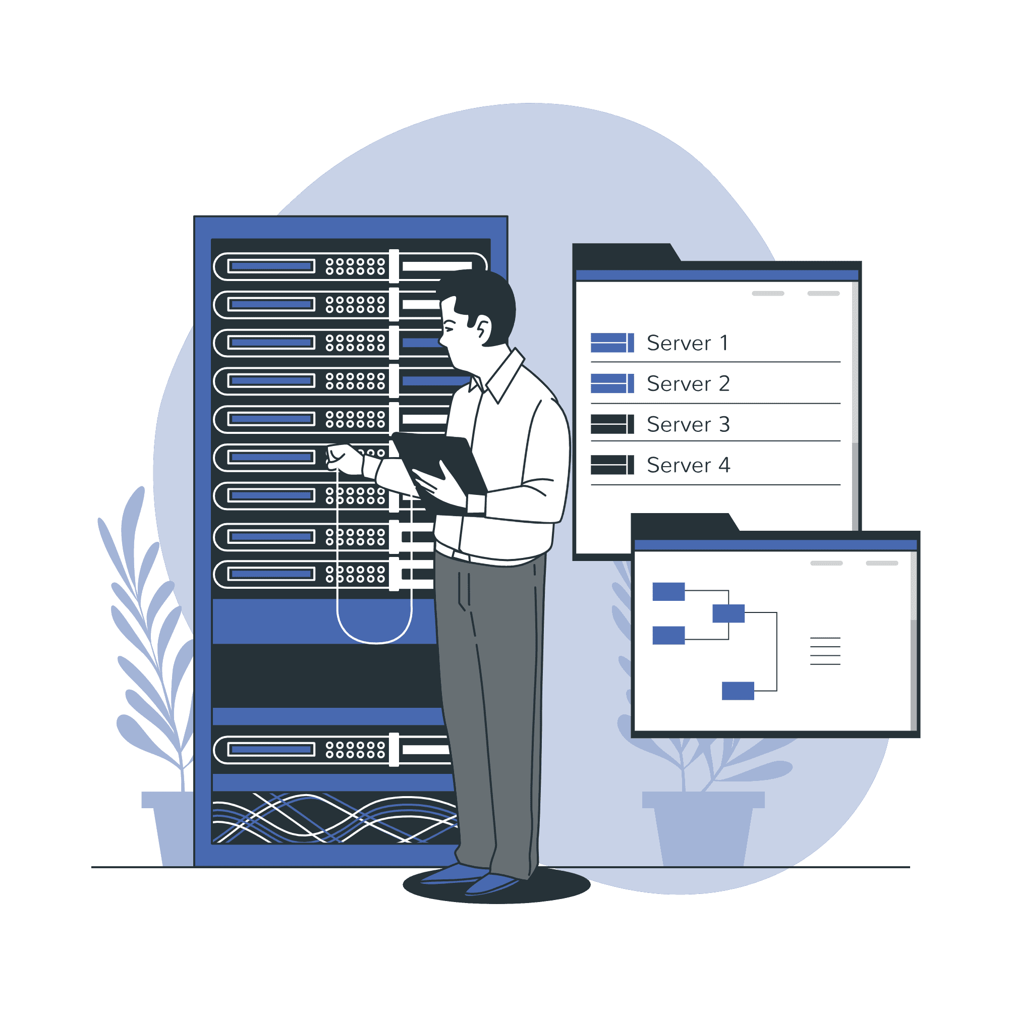 Database Engineer working on server vector illustration