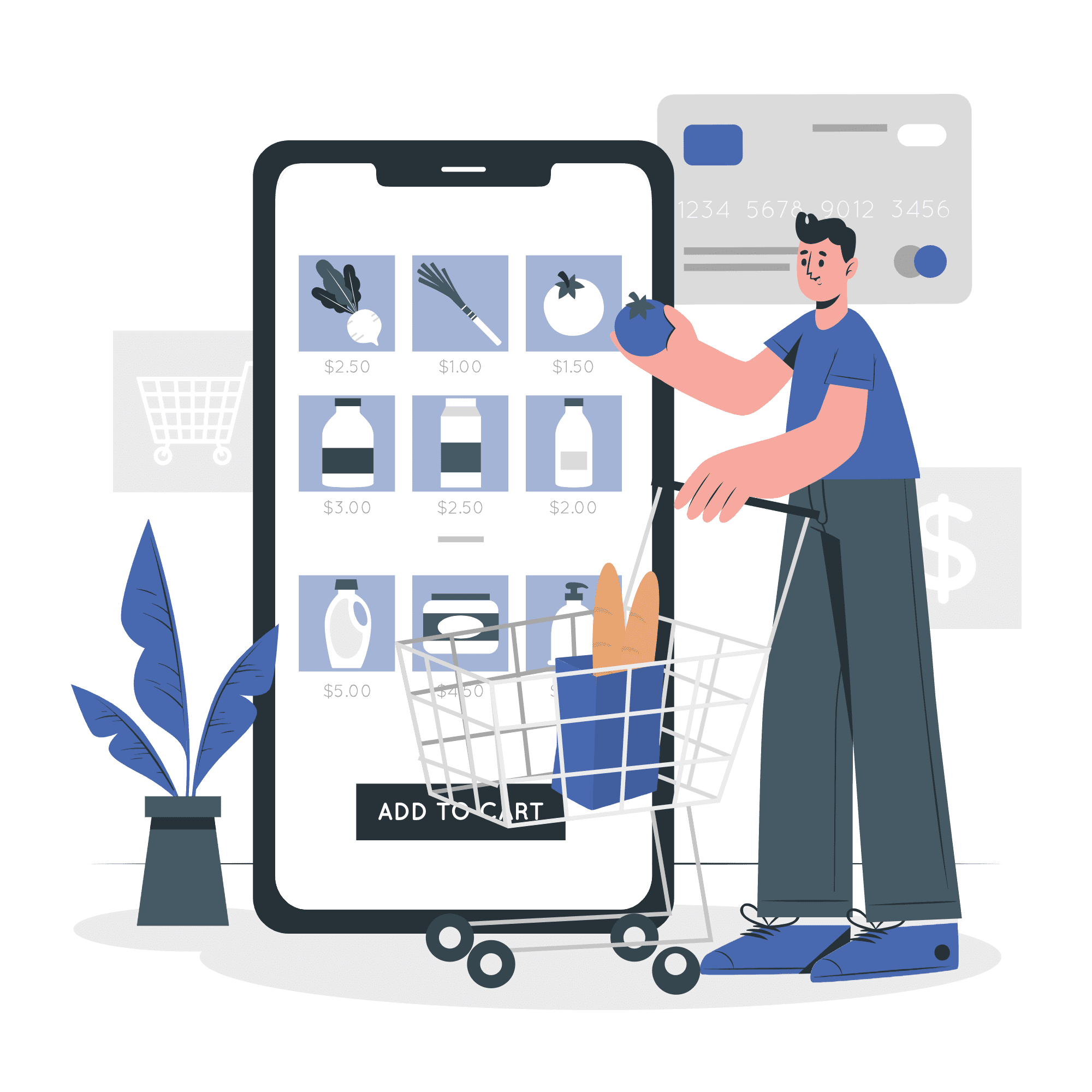 A person shopping on e-commerce website vector illustration