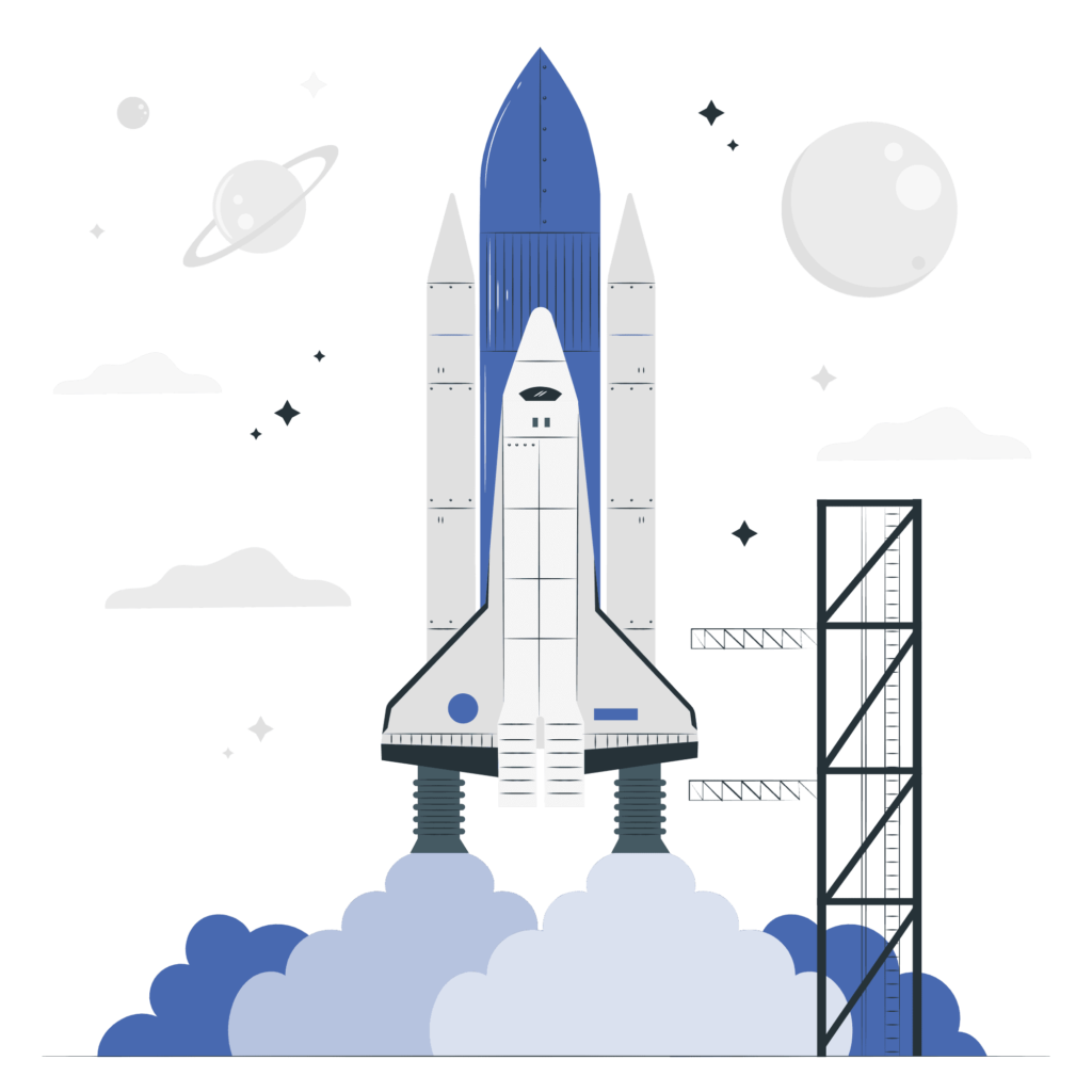 Rocket launch vector illustration