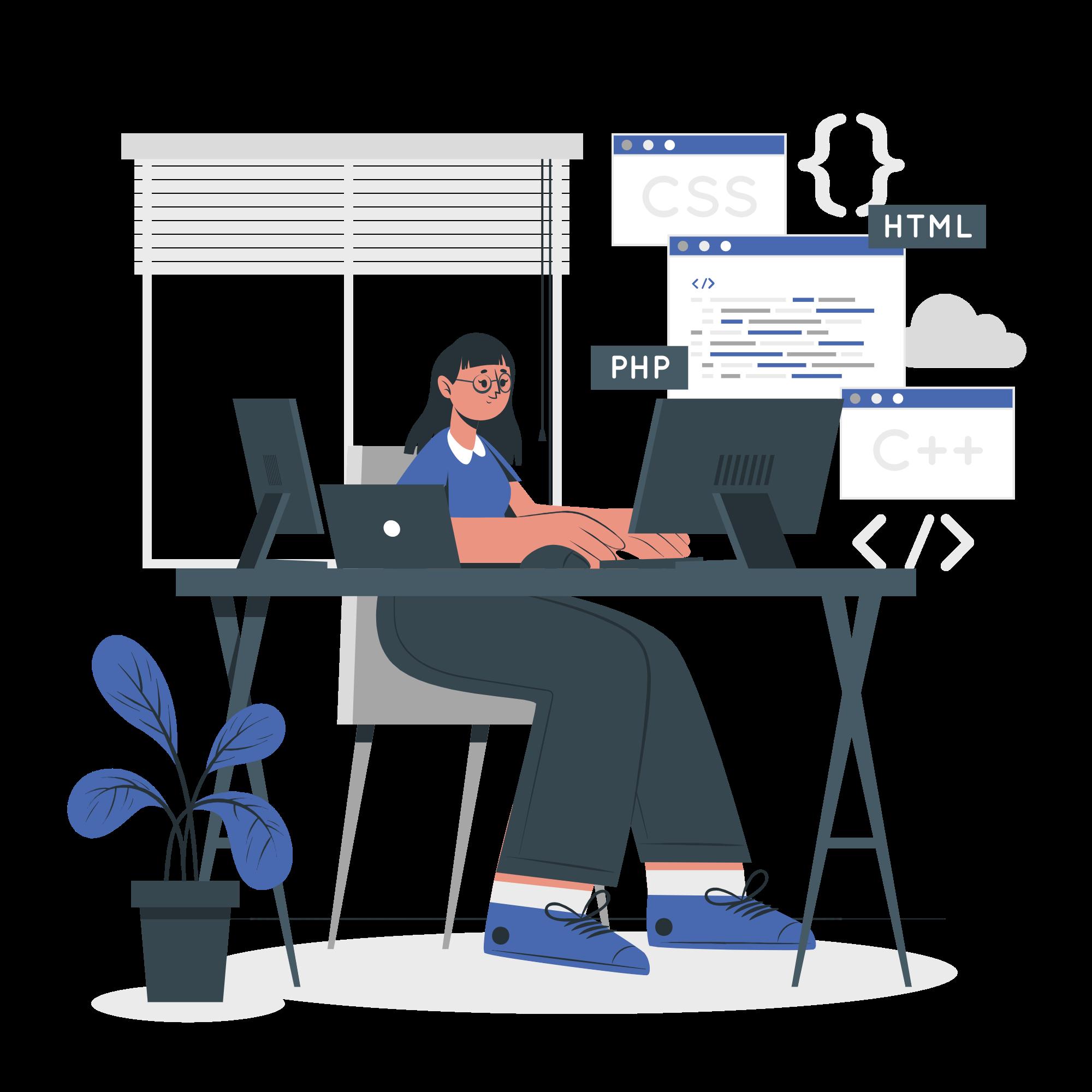 Web developer working on website development vector illustration