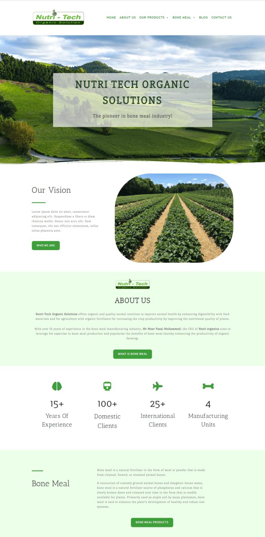 Nutri Tech Website Homepage Snap