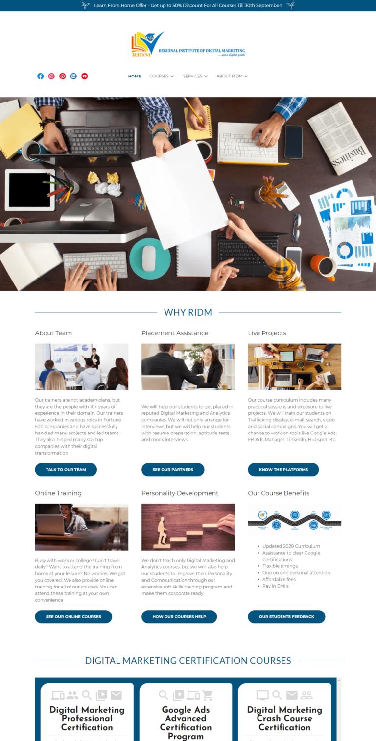 RIDM Website Homepage Snap