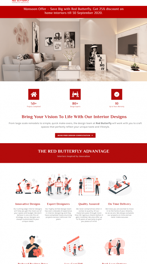 Red Butterfly Website Homepage Snap